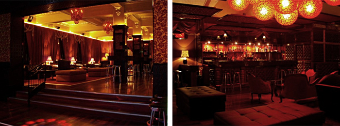 Left: Downstairs where the dance floor is. Right: Upstairs another lounge area.